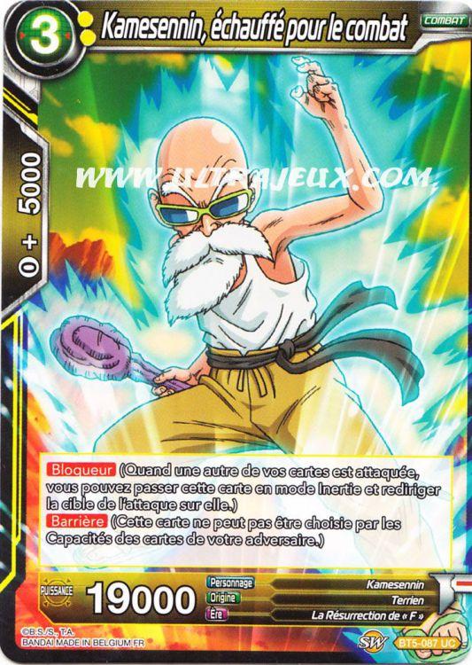 Ultrajeux Kamesennin Echauffe Pour Le Combat Bt5 087 R Carte Dragon Ball Super Cartes A L Unite Francais