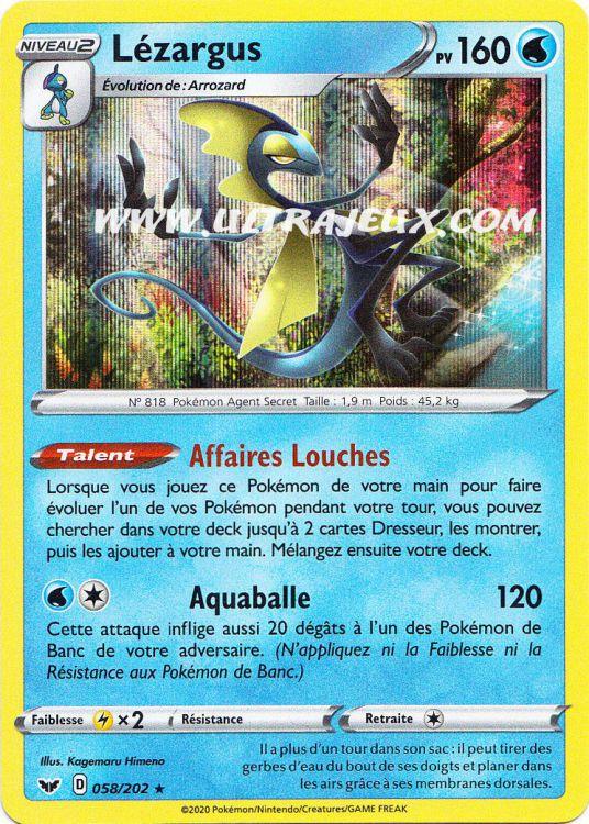 francais 58//202 Epee Bouclier EB01 VF Holo Rare Lézargus Pokemon