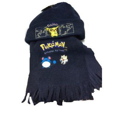 Produits Spéciaux Lot Écharpe + Bonnet Pokemon Polaire Bleu Foncé