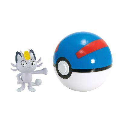 Figurine Clip'n Carry Poké Ball  - Miaouss d'Alola + Super Ball
