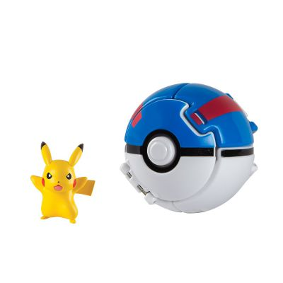 Figurine Pokemon Throw'n Pop Pikachu + Super Ball