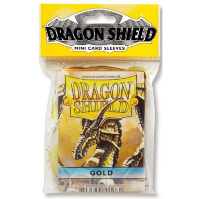 Protèges Cartes Format JAP Sleeves Dragon Shield Mini Par 50 Gold (Lisse)