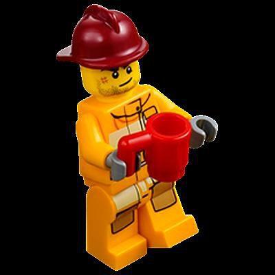 Minifigures City Minifigures Lego City 2012 - 19 - Un Pompier Avec Une Tasse Rouge