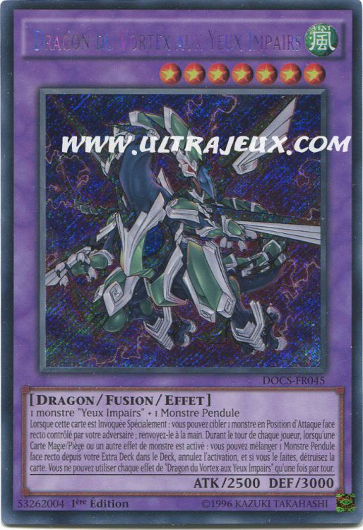 Ultrajeux Dragon Du Vortex Aux Yeux Impairs Docs Fr045 Carte Yu Gi Oh Cartes 224 L Unit 233
