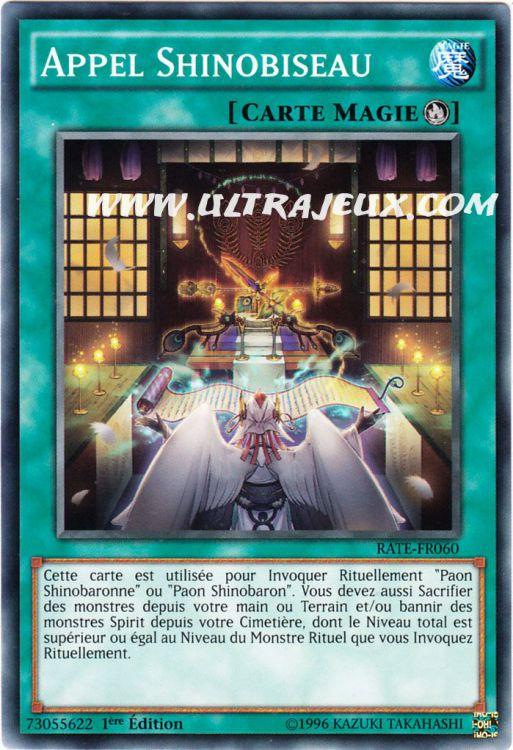 Carte Yu Gi Oh APPEL SHINOBISEAU RATE-FR060 x 3