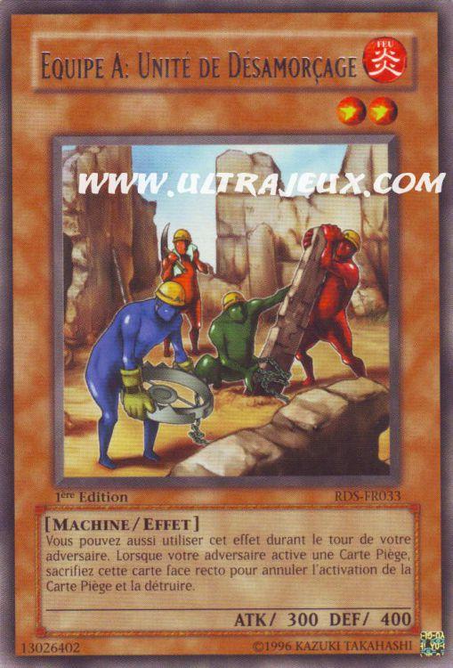 Carte Yu Gi Oh  RARE  Equipe A Unité De Désamorçage RDS-FR033
